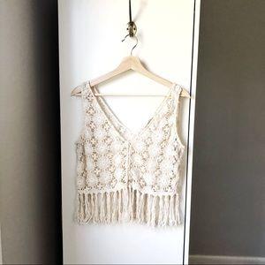 Zara festival crochet macrame fringe vest